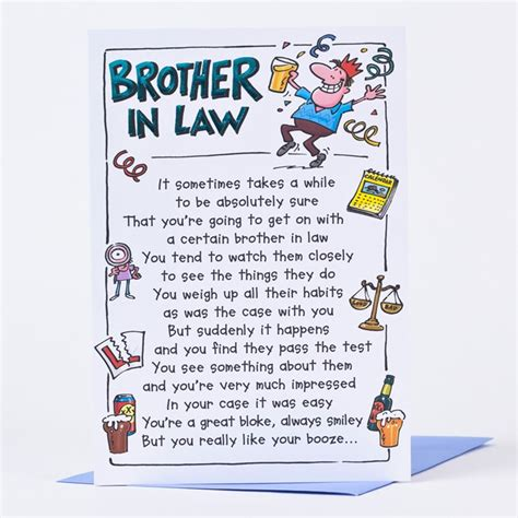 What To Write In A Brothers Birthday Card Birthday Card Boozy Brother In Law Only 89p