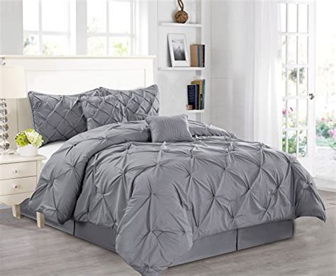 7 pieces luxury solid grey pinch pleat stripe comforter