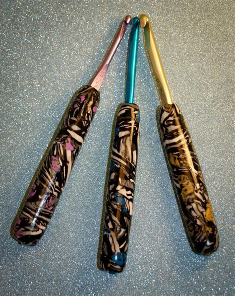 large pattern hooks polymer clay covered crochet hooks