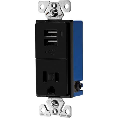 eaton 15 decorator usb charger with electrical outlet