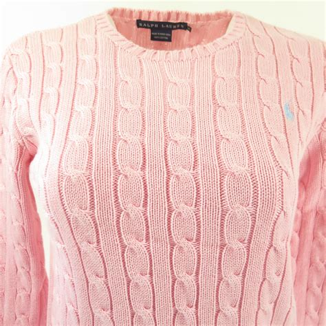 ralph cable knit sweater womens ralph cable knit pink sweater womens m cotton blue