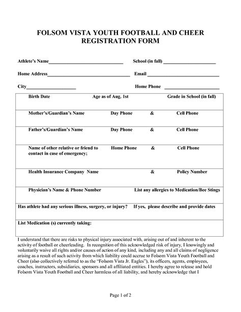 sports registration form template free youth football tryout evaluation forms