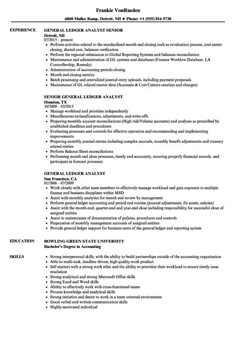 General Ledger Experience Resume