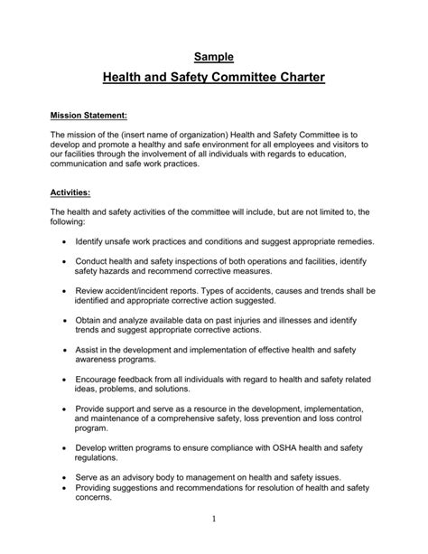 template health and safety committee safety committee charter template reactorread org