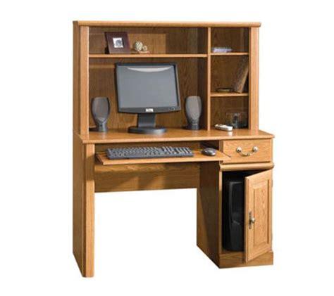 sauder orchard hills computer desk with hutch in milled cherry sauder orchard hills collection desk w shelf hutch qvc com