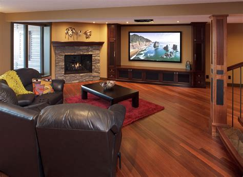 kayu flooring in basement contemporary home theater calgary by atlas hardwood floors inc