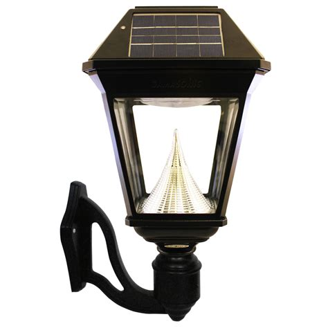 Solar Outdoor Light Shop Gama Sonic Imperial 2 19 In H Led Black Solar Outdoor Wall Light At Lowes