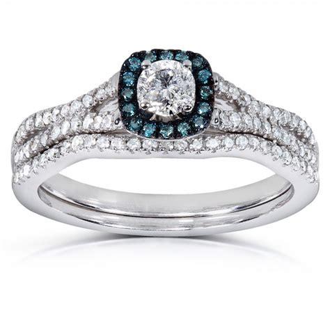 1 carat unique and sapphire bridal ring set