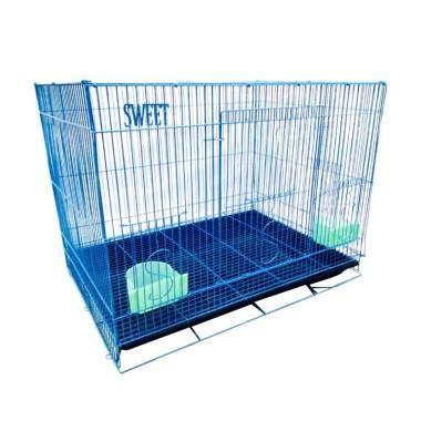 Kandang Kucing Lipat Dengan Tatakan 60x40x50 jual kandang sweet k33 kucing besi lipat besar 60p biru harga kualitas terjamin