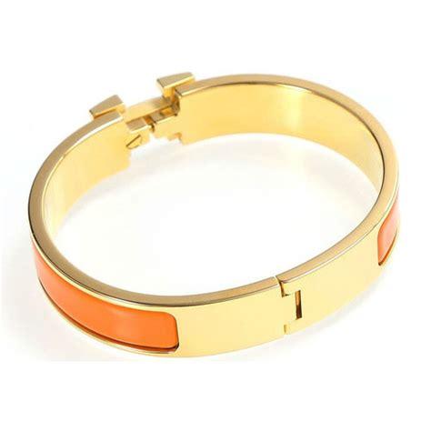 hermes gold plated h narrow bracelet with orange enamel