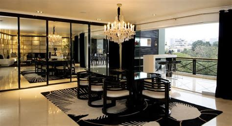 sala  comedor de lujo en blanco  negro por karim chaman