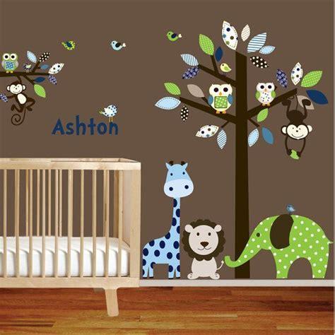giraffe elephant monkey nursery wall decal sticker vinyl tree and branch jungle decals 165