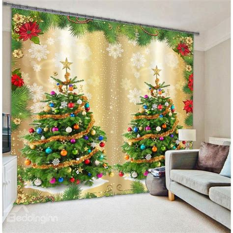 christmas curtain panels christmas trees print 3d home decor curtain beddinginn com
