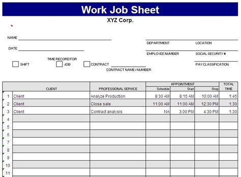 Employee Task List Template Job Sheet Template Excel Excel Templates