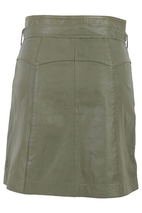 kookai womens khaki leather buttoned belted knee