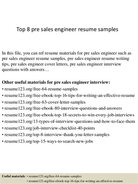 Free Resume Sles For Engineers Top 8 Pre Sales Engineer Resume Sles