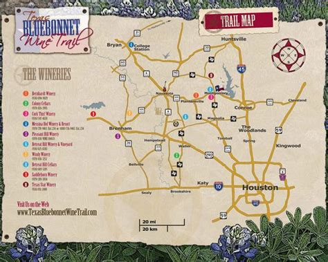 texas winery map bluebonnet wine trail map houston tx texaswineries texas wineries wine trails