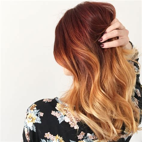 copper red ombre hair balayage balayage red highlight hair color on blonde http