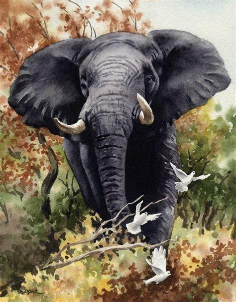 painting elephant elephant print signed by artist dj rogers