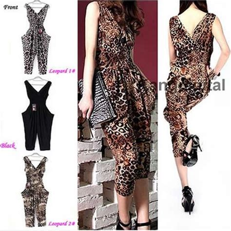 pattern for harem jumpsuit womens cool sexy leopard pattern harem jumpsuit sleeveless