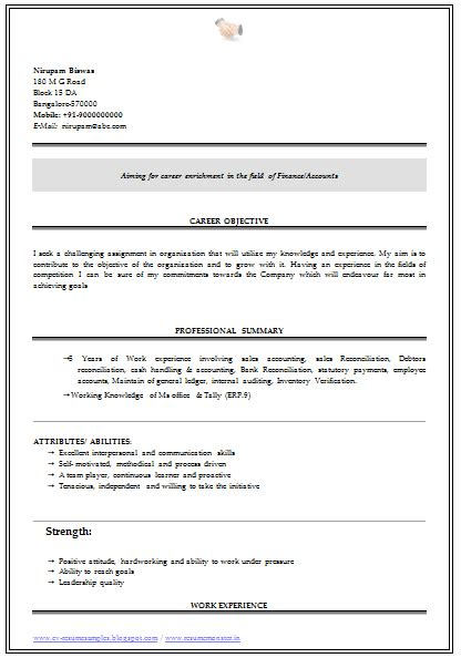 resume format for commerce graduate fresher 10000 cv and resume sles with free b graduate resume