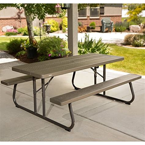 6 ft patio picnic table lifetime 60105 wood grain picnic table and benches 6 feet