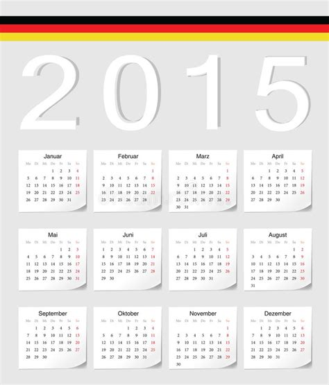 Calendrier Allemand Calendrier De L Allemand 2015 Illustration De Vecteur