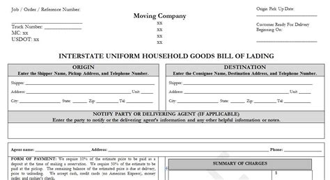 Sle Household Goods Bill Of Lading Template Moving Company Quote Template