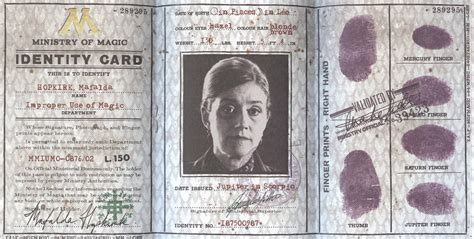 ministry of magic identity card template harry potter paraphernalia september 2012
