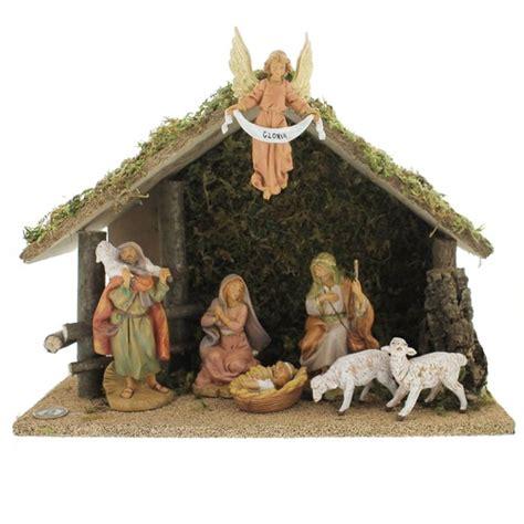 fontanini 7 piece nativity set with italian wood stable 5