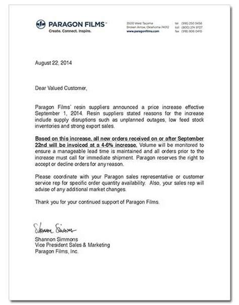 Letter Announcing Raise Resin Increases October 2014