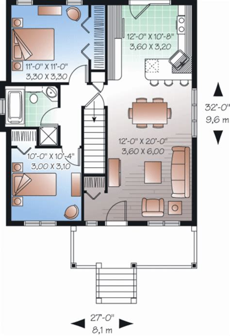 Ranch Style House Plan   2 Beds 1 Baths 870 Sq/Ft Plan #23
