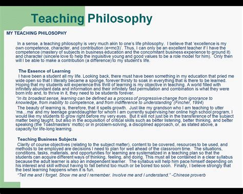 teaching philosophy template philosophy of education sles www imgkid the
