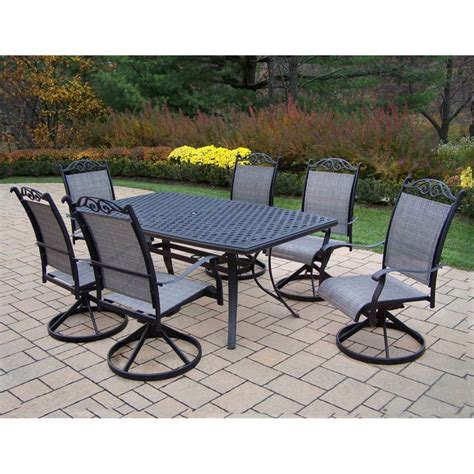 Patio Dining Set Shop Oakland Living Cascade Sling 7 Dining Patio Dining Set At Lowes