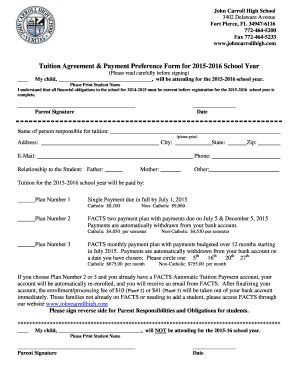 Installment Payment Agreement Template Forms Fillable Printable Sles For Pdf Word Tuition Contract Template