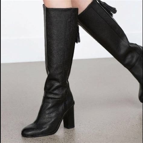 zara nwt zara knee high leather boots with tassel from