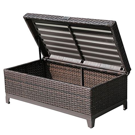 Outdoor Storage Ottoman Bench Patioroma Outdoor Patio Aluminum Frame Wicker Storage Deck Box Bench With Seat Cushion Espresso