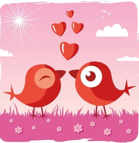 Free Cute Cartoon Birds Vector For Valentine's Day   TitanUI