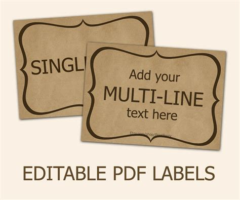 craft paper labels editable labels craft paper tags labels for jars