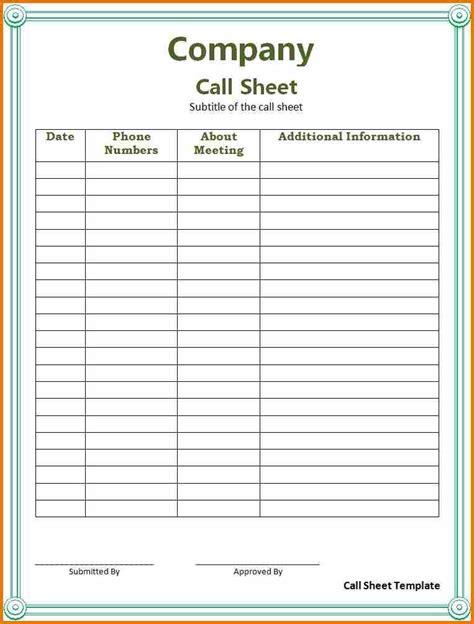 Customer Call Sheet Template Aiyin Template Source Customer Log Sheet Template