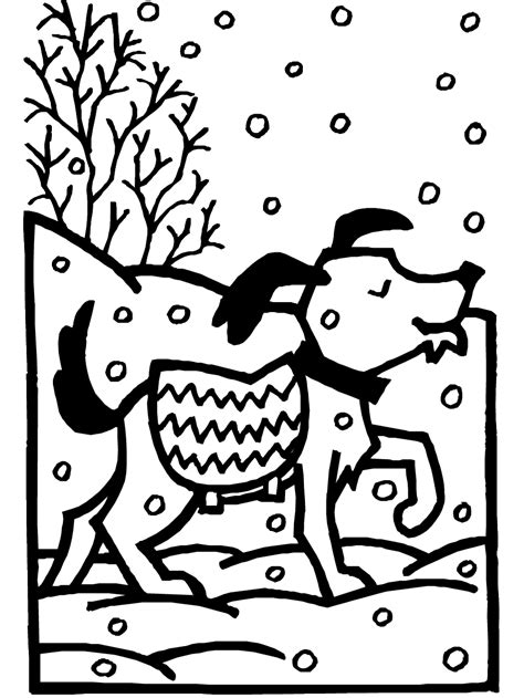 dog  snow coloring page printable winter coloring