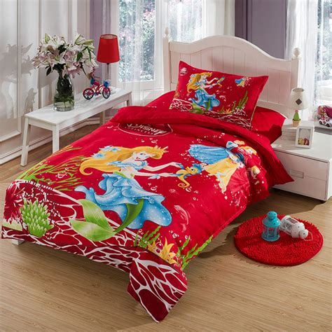 Mermaid Princess Comforters And Quilts Red Bed Sheets Mermaid Bedding Set