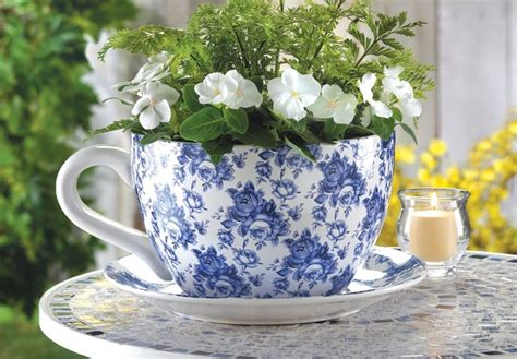 Flower Pot Planter Large Blue Floral Teacup With Saucer Large Teacup Planter