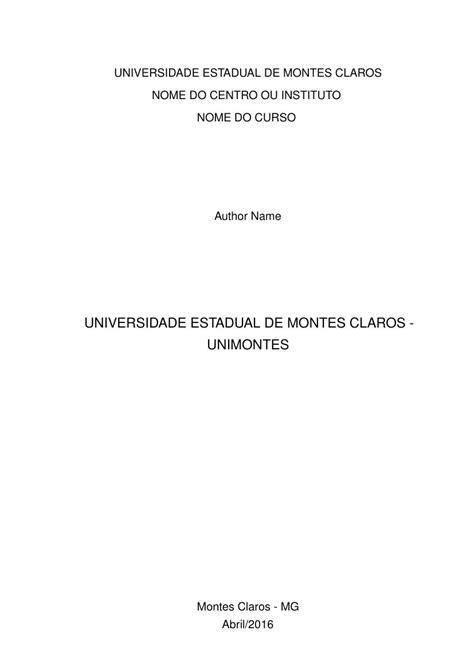 Modelo TCC Universidade Estadual de Montes Claros
