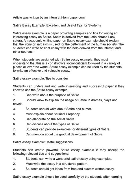 Exle Of Satirical Essay by Satire Essays Topics For A Satire Essay Ayucar