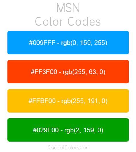 msn colors hex  rgb color codes
