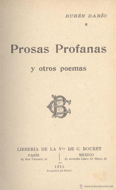 rub 233 n dar 237 o prosas profanas y otros poemas pa comprar libros antiguos de poes 237 a en