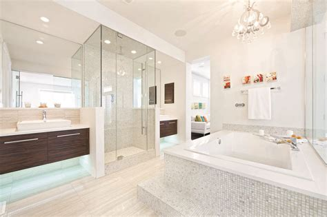 modern bathroom decorating ideas of your dreams modern ensuite with floating cabinets and soaker tub calgary