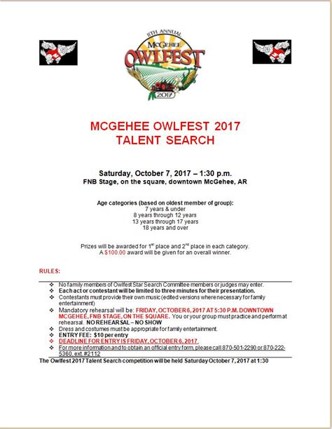 Free Talent Search Owfest Talent Search Mcgehee Owlfest