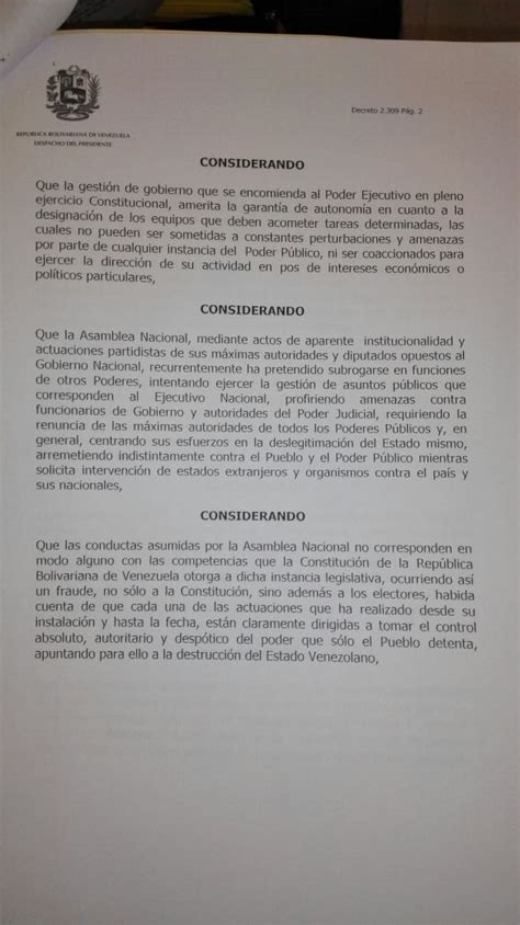 decreto 2276 venezuela 2016 presidente emite decreto para restringir mociones de